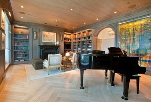 Traditional Great Room with Cement fireplace, Craig tuttle construction, Standard height, Herringbone wood floor pattern