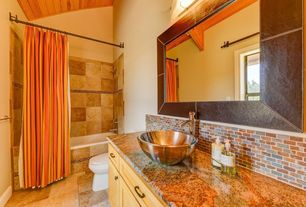 Eclectic Full Bathroom with Crown molding, double-hung window, Ceramic Tile, Wall Tiles, tiled wall showerbath, Exposed beam