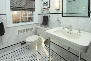 Traditional Full Bathroom with Console sink, frameless showerdoor, Carrara marble, Wall sconce