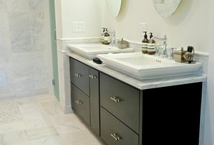 Traditional Master Bathroom with Gatco vogue round mirror, Kohler memoirs self-rimming drop-in bathroom sink in white