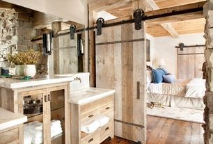 Rustic Master Bathroom with Rocky Mountain Hardware - Empire Bin Pull, European Cabinets, Complex Marble, Barn door hardware