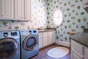 Traditional Laundry Room with laundry sink, drop-in sink, interior wallpaper, Standard height, specialty window