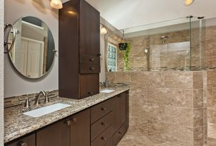 Contemporary Master Bathroom with Ceramic Tile, European Cabinets, Undermount sink, Double sink, Simple granite counters
