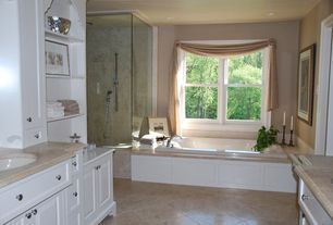 Traditional Master Bathroom with Undermount sink, Oregon Tile & Marble Limestone in Jerusalem Gold, frameless showerdoor