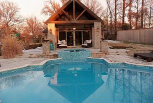 Craftsman Swimming Pool with French doors, Pool with hot tub, exterior tile floors, Fence, exterior terracotta tile floors