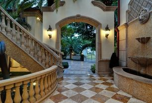 Traditional Patio with Fountain, exterior tile floors, Fence, Gate, Pond, exterior terracotta tile floors