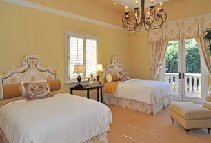 Traditional Guest Bedroom with Carpet, Crown molding, French doors, Chandelier
