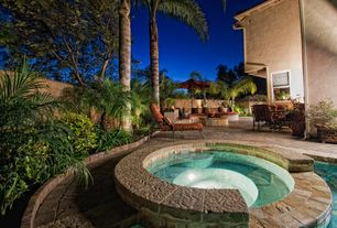 Tropical Hot Tub with Pathway, Fire pit, exterior stone floors, Fence