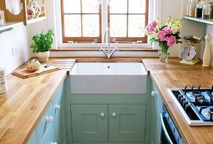 Country Kitchen with U-shaped, Casement, Paint 2, electric cooktop, stone tile floors, Paint, Farmhouse sink, Flush