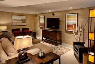 Contemporary Basement with York wallcoverings grasscloth wallpaper - dark brown, interior wallpaper, Carpet, Wall sconce
