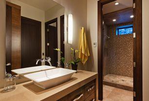 Contemporary Master Bathroom with Shower, can lights, European Cabinets, Vessel sink, specialty door, three quarter bath