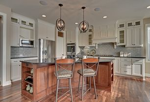 "Craftsman Kitchen with South cypress 5th avenue 3"" x 6"" - grey matte, Large Ceramic Tile, specialty door, Breakfast bar"