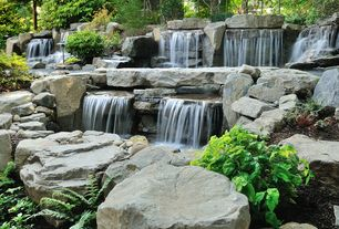 Rustic Landscape/Yard with High Cascade Granite Water Feature, Garden water feature, Fountain, rock garden, Waterfall, Fence