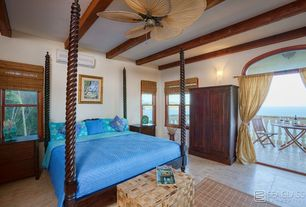 Mediterranean Guest Bedroom with Exposed beam, Wall sconce, High ceiling, Ceiling fan