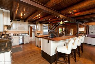 Eclectic Kitchen with Soapstone, L-shaped, Wood counters, Soapstone counters, Breakfast bar, Kitchen island, Hardwood floors
