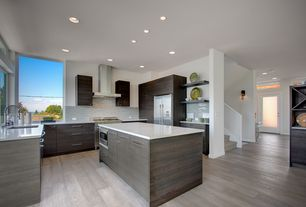 Modern Kitchen with U-shaped, Kitchen island, Flush, 2 in. Solid Surface Countertop in Venaro White, European Cabinets