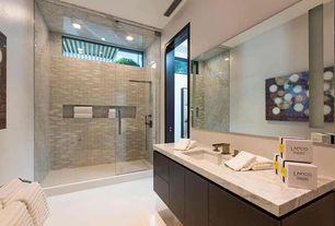 Modern 3/4 Bathroom with European Cabinets, Complex marble counters, Daltile farringdon j100 24x24 field tile, Flush