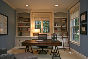 Country Home Office with Paint 2, Paint 1, Crown molding, Built-in bookshelf, can lights, Standard height, double-hung window