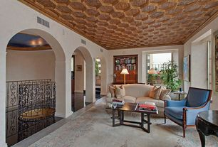 Traditional Living Room with Columns, Honeycomb ceiling molding detail, Tilton coffered ceilings, hexagon, Coffered ceiling