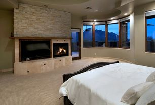 Contemporary Master Bedroom with Fireplace, recessed lights, Wall-mounted recessed fireplace, Paint, Standard height, Carpet
