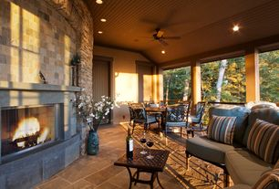 Rustic Porch with exterior stone floors, Wrap around porch