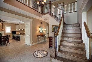 Craftsman Staircase with Chandelier, Concrete floors, Loft, Cathedral ceiling, curved staircase, six panel door
