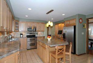 Craftsman Kitchen with Raised panel, full backsplash, stone tile floors, Kitchen island, double oven range, can lights, Flush