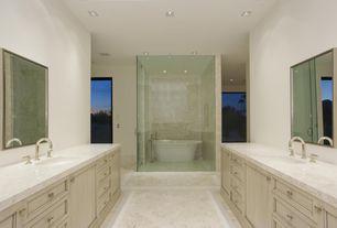 Contemporary Master Bathroom with Simple marble counters, Powder room, Frameless, Vinyl floors, stone slab showerbath