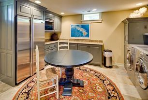 Eclectic Laundry Room with drop-in sink, laundry sink, six panel door, can lights, travertine floors, Standard height