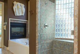 Craftsman 3/4 Bathroom with picture window, Shower, Bathtub, Vinyl floors, Powder room, Fireplace, Standard height