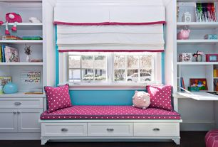 Traditional Kids Bedroom with Casement, Built-in bookshelf, Laminate floors, Crown molding, Bunk beds, Paint 1, Window seat