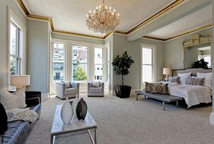 Traditional Master Bedroom with 18 Lights Maria Theresa Chandelier, Wide Box Frame Coffee Table - Marble, Carpet, Chandelier