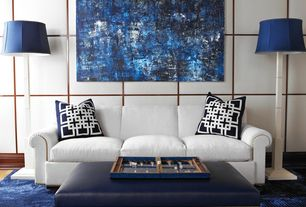 Modern Living Room with Abstract Painting Blue Modern Original Minimalist Geometric Large Canvas