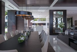 Modern Dining Room with High Gloss Designer White Flooring, Modloft Astor Dining Table, Pendant light, Box ceiling