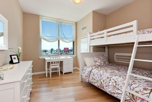 Modern Kids Bedroom with Laminate floors, Otto Solid Off White Trio Bunk Bed, Madeline Extra-Wide Dresser, flush light