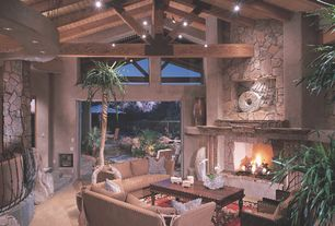 Eclectic Great Room with slate floors, Exposed beam, Winners Only, Inc. Regal Coffee Table with Lift Top, flush light