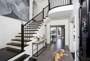 Contemporary Entryway with Loft, Hammary modern basics console table, Cathedral ceiling