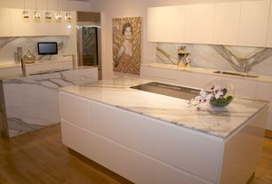 Contemporary Kitchen with Kitchen island, Subzero Pro 48 Full Size Refrigerator with Glass Door, L-shaped, Undermount sink