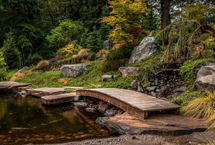 Rustic Landscape/Yard with Wooden garden bridge