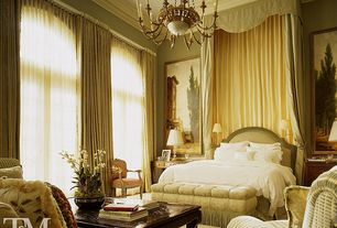 Traditional Master Bedroom with High ceiling, Crown molding, Floor to ceiling curtain, Sheer curtains, can lights, Chandelier