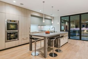 Modern Kitchen with can lights, Paint 1, Breakfast bar, Soapstone counters, LBL Lighting Cypree 1 Light Large Pendant, Flush