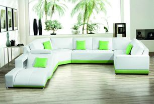 Contemporary Living Room with Laminate floors, Leather sectional sofa, 2264B Modern White Leather Sectional Sofa, Paint 1