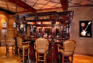 Eclectic Bar with interior wallpaper, can lights, Crown molding, Standard height, Built-in bookshelf, Box ceiling