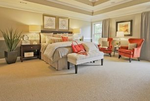 Contemporary Master Bedroom with Tufted bench, Carpet, Chair rail, Claudia diamond secret natural tufted bench, Crown molding