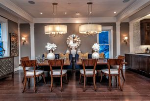 Contemporary Dining Room with Wood dining set, TileBar Paragon Atlantic Bubble Mini Brick Pattern Tile, Interior pilaster