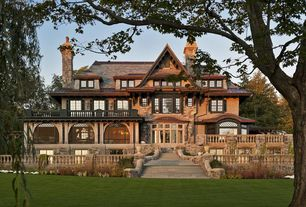 Traditional Exterior of Home with Lake skaneateles, new york, Arched windows, Copper gutters, Wood shingle siding