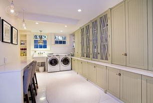 Country Laundry Room with Crown molding, double-hung window, laundry sink, Built-in bookshelf, drop-in sink, can lights