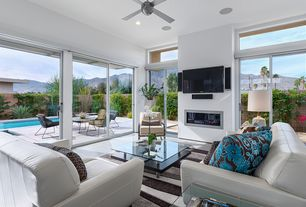 Contemporary Living Room with specialty window, sliding glass door, Monarch Specialties Inc. Glam Sofa, can lights, Fireplace