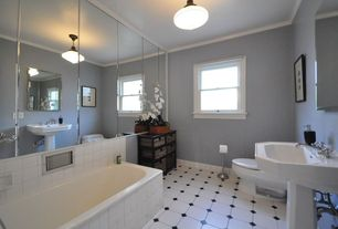 Traditional Full Bathroom with Pedestal sink, Simple marble counters, Crown molding, Bathtub, Standard height, Casement