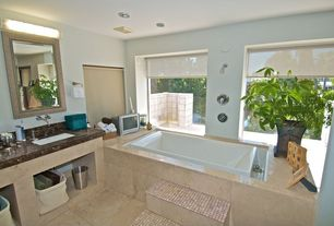 Contemporary Master Bathroom with Complex marble counters, Ms international crema marfil 1x1 tumbled marble, Master bathroom